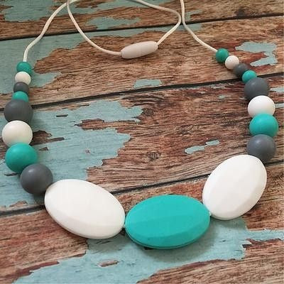 Oval and Gumball Bead Necklace - Teething Necklace - Nature Bubz - Afterpay - Zippay Carry Them Close