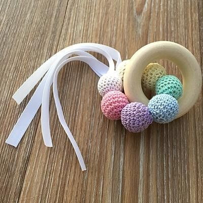 Crochet and Wooden Rattle Pastle Rainbow with with Maple Wood Teether - Teething Necklace - Nature Bubz - Carry Them Close