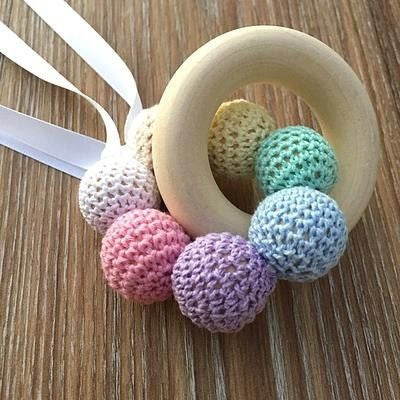 Crochet and Wooden Rattle Pastle Rainbow with with Maple Wood Teether - Teething Necklace - Nature Bubz - Afterpay - Zippay Carry Them Close