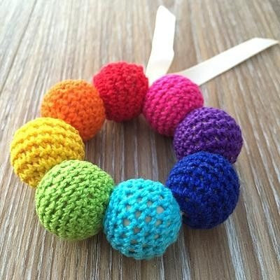 Crochet and Wooden Rattle Rainbow - Teething Necklace - Nature Bubz - Carry Them Close