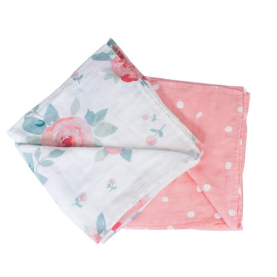 Bebe Au Lait - Bamboo Baby Swaddle - Rosy & Dewdrops (2pk)