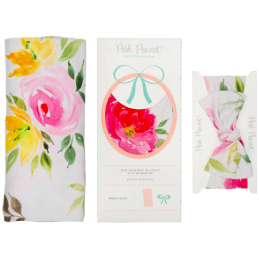 Bamboo Baby Swaddle Set - Watercolor Bloom - Swaddle - Posh Peanut - Afterpay - Zippay Carry Them Close