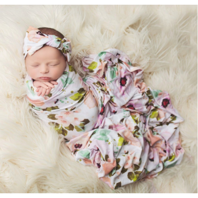 Bamboo Baby Swaddle Set - White Winter Peony - Swaddle - Posh Peanut - Afterpay - Zippay Carry Them Close