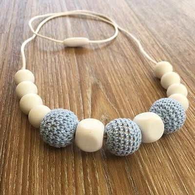 Crochet and Silicone Bead Nursing Necklace - Blue/white, , Teething Necklace, Nature Bubz, Carry Them Close