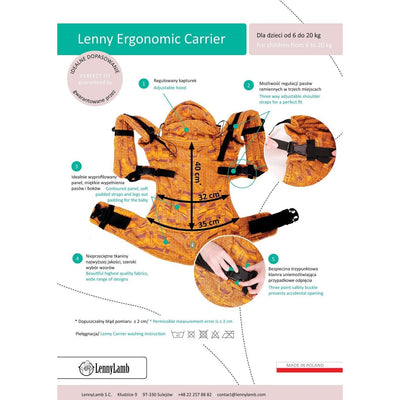 Lenny Lamb Ergonomic Carrier (BABY) - SUNSET RAINBOW (RD) - Second Generation, , Baby Carrier, Lenny Lamb, Carry Them Close  - 4