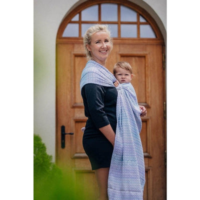 Lenny Lamb Ring Sling - Little Love Summer Sky (Merino, Silk, Wool, Cashmere, Cotton), , Ring Sling, Lenny Lamb, Carry Them Close  - 7