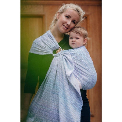 Lenny Lamb Ring Sling - Little Love Summer Sky (Merino, Silk, Wool, Cashmere, Cotton), , Ring Sling, Lenny Lamb, Carry Them Close  - 8