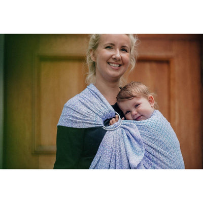 Lenny Lamb Ring Sling - Little Love Summer Sky (Merino, Silk, Wool, Cashmere, Cotton), , Ring Sling, Lenny Lamb, Carry Them Close  - 5