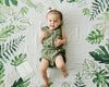 Little Unicorn - Photo Blanket Swaddle & Milestone Set - Tropical Leaf