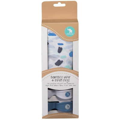 All4Ella Bamboo Baby Swaddle Wrap & Pram Peg Set - Abstract Blue - Swaddle - All4Ella - Afterpay - Zippay Carry Them Close