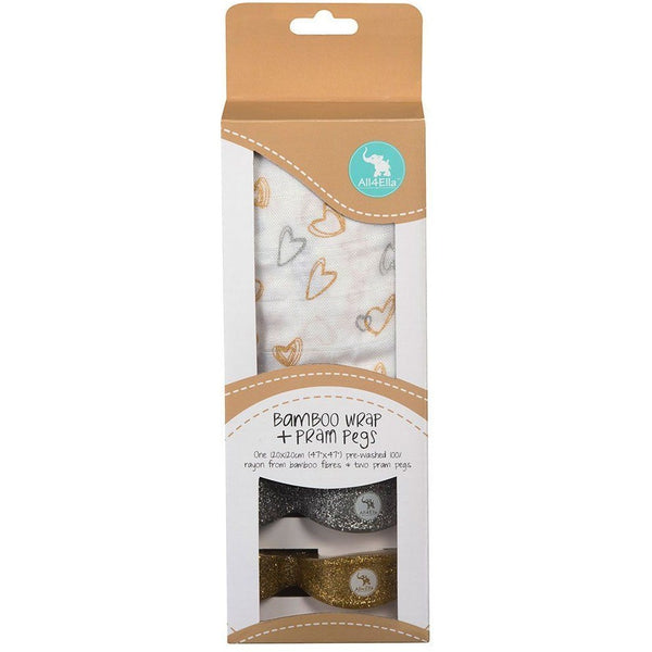 All4Ella Bamboo Baby Swaddle Wrap & Pram Peg Set - Gold & Silver Hearts