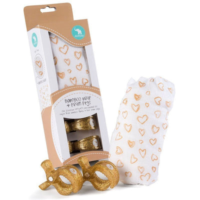 All4Ella Bamboo Baby Swaddle Wrap & Pram Peg Set - Gold Hearts - Swaddle - All4Ella - Afterpay - Zippay Carry Them Close