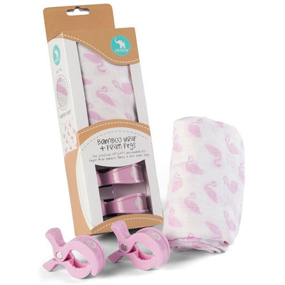 All4Ella Bamboo Baby Swaddle Wrap & Pram Peg Set - Swan - Swaddle - All4Ella - Afterpay - Zippay Carry Them Close