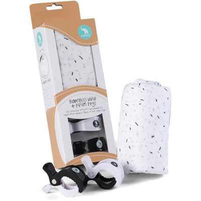 All4Ella Bamboo Baby Swaddle Wrap & Pram Peg Set - Sprinkle Black - Swaddle - All4Ella - Afterpay - Zippay Carry Them Close