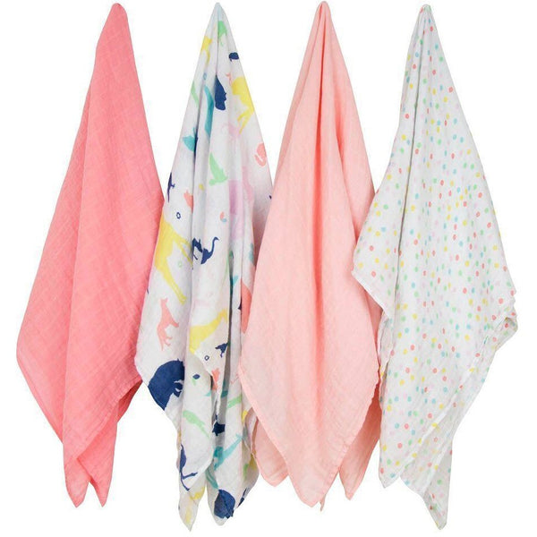 Weegoamigo Muslin Swaddle Wraps - Party Animals (4pk)