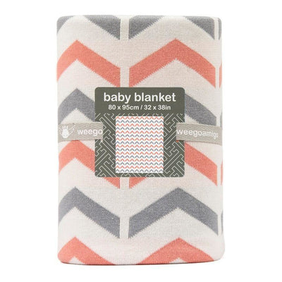 Weegoamigo Cotton Knitted Blanket - Ziggy Coral - Baby Blankets - Weegoamigo - Afterpay - Zippay Carry Them Close