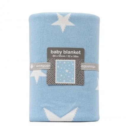 Weegoamigo - Cotton Knitted Blanket - Stellar Pale Blue - Baby Blankets - Weegoamigo - Carry Them Close