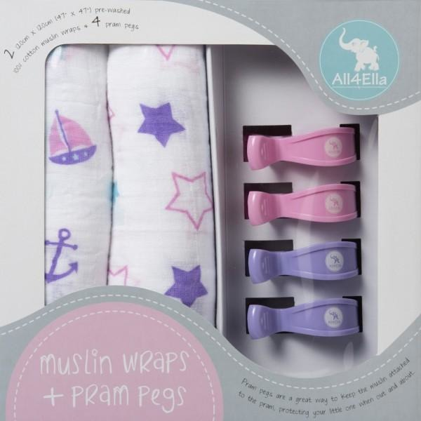 All4Ella Muslin Baby Swaddle Wraps & Pram Pegs Set - Pink Stars & Nautical