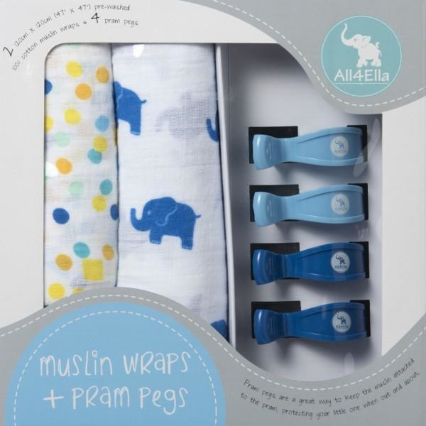 All4Ella Muslin Baby Swaddle Wraps & Pram Pegs Set - Elephants & Spots Blue