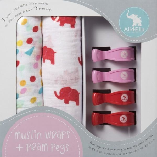 All4Ella Muslin Baby Swaddle Wraps & Pram Pegs Set - Elephants & Spots Red
