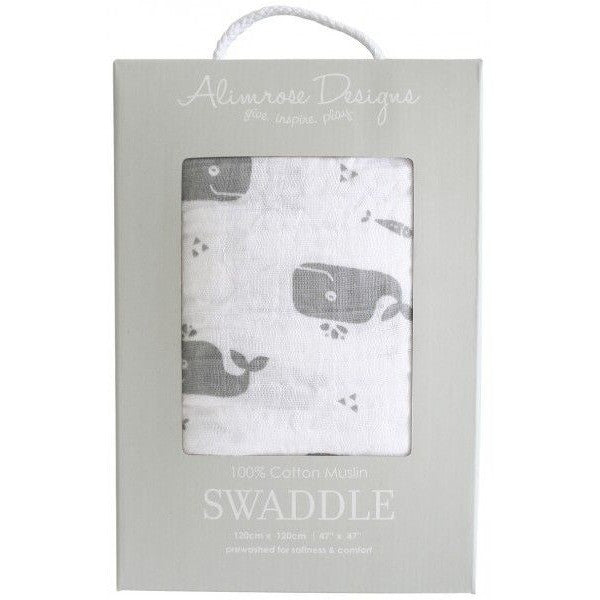 Alimrose Muslin Swaddle - Charcoal Whale, , Bedding, Alimrose, Carry Them Close  - 1
