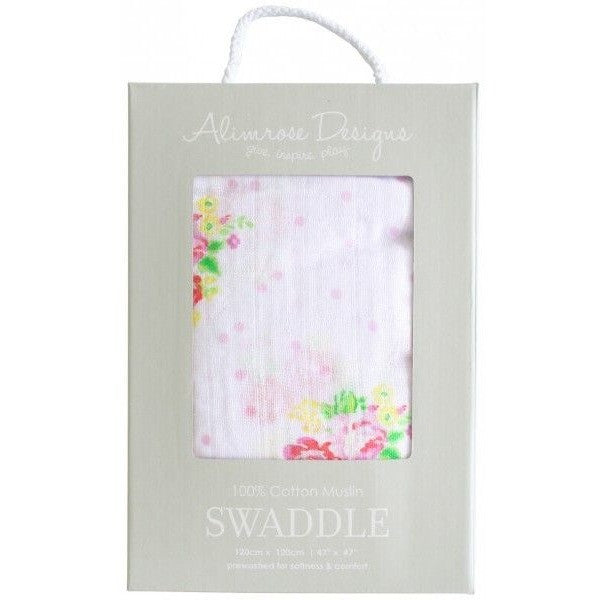 Alimrose Muslin Swaddle - Rose Floral Spots, , Bedding, Alimrose, Carry Them Close  - 1