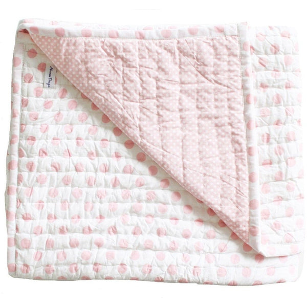 Alimrose Reversible Cot Blanket Quilt - Audrey Pink Polka, , Bedding, Alimrose, Carry Them Close  - 1