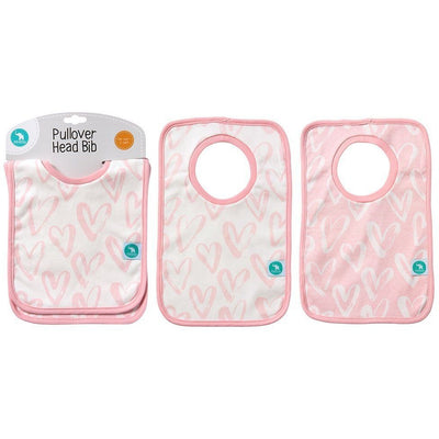 All4Ella Bibs Pull over Head (Set 2) - Hearts Pink - Clothing - All4Ella - Afterpay - Zippay Carry Them Close