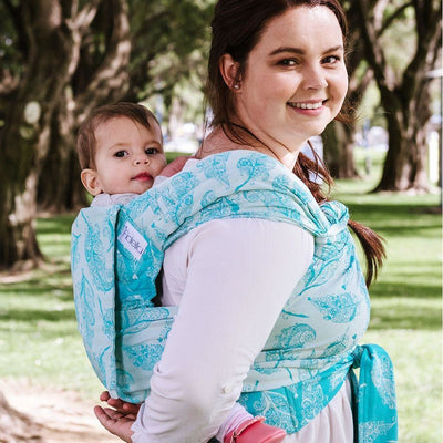Fidella Fly Tai - MeiTai babycarrier Feather Rain - scuba blue (Toddler) - Meh Dai - Fidella - Afterpay - Zippay Carry Them Close