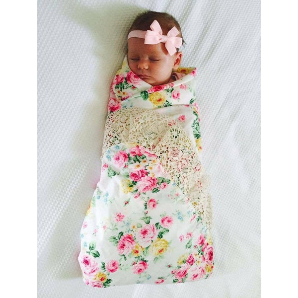 Tilly and Otto - Couture lace swaddle wrap in Vintage Blooms {White} ***Pre-Order*** - Swaddle - Tilly and Otto - Carry Them Close