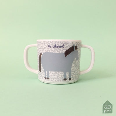 Petit Jour - Double Handled Cup with Anti-slip Base - Farm Yard