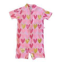 Plum - Swimmers Pink Hearts Zip 1 piece suit