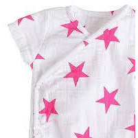Short Sleeve kimono Bodysuit - Pink Star - Clothing - Aden and Anais - Afterpay - Zippay Carry Them Close