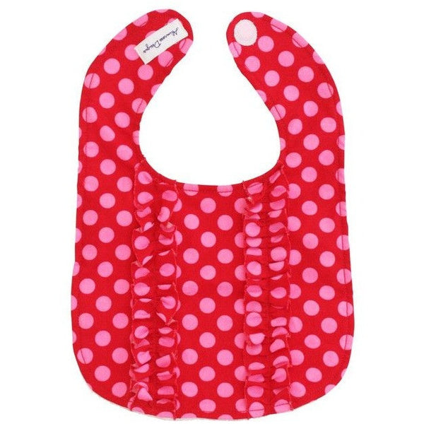 Alimrose - Double Ruffle Red Pink Polka Bib - Clothing - Alimrose - Carry Them Close