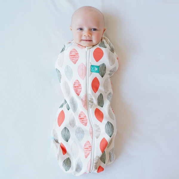ErgoPouch - ErgoCocoon Autumn / Spring Swaddle & Sleeping Bag (1TOG) - Blush Leaf, , Swaddle, ErgoCocoon, Carry Them Close  - 1