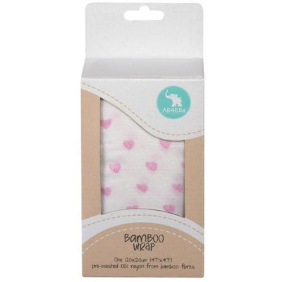 All4Ella Bamboo Baby Swaddle Wrap - Pink Heart - Swaddle - All4Ella - Afterpay - Zippay Carry Them Close