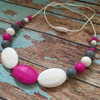Oval Pink and Grey Necklace - Teething Necklace - Nature Bubz - Afterpay - Zippay Carry Them Close
