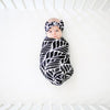 Posh Peanut - Bamboo Baby Swaddle Set - Black Leaves