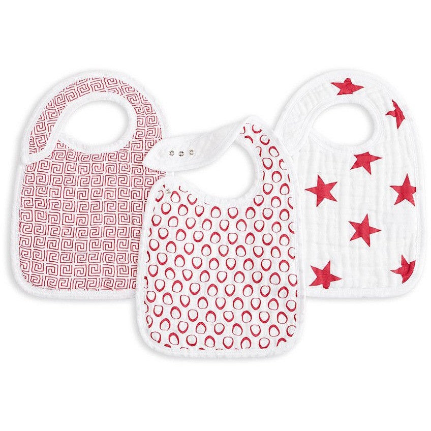Aden and Anais - Snap Bib 3 Set - RED - Clothing - Aden and Anais - Carry Them Close