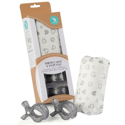 All4Ella Bamboo Baby Swaddle Wrap & Pram Peg Set - Silver Hearts - Swaddle - All4Ella - Afterpay - Zippay Carry Them Close