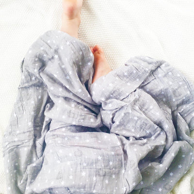 Alimrose Muslin Swaddle - Bunnies & Stars Grey - Swaddle - Alimrose - Afterpay - Zippay Carry Them Close