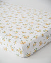Little Unicorn - Cotton Muslin Cot Sheet - Yellow Rose