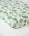 Little Unicorn - Cotton Muslin Cot Sheet - Tropical Leaf