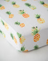 Little Unicorn - Cotton Muslin Cot Sheet - Pineapple
