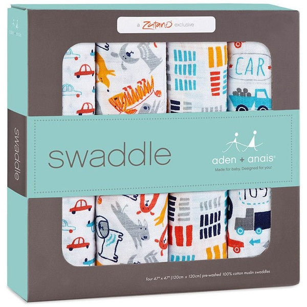 Aden and Anais - Classic Swaddles Zutano - Pup In Tow (4 Pack) - swaddle - Aden and Anais - Carry Them Close