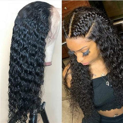 Lace Front Wig Human Hair Deep Wave Wig 24""