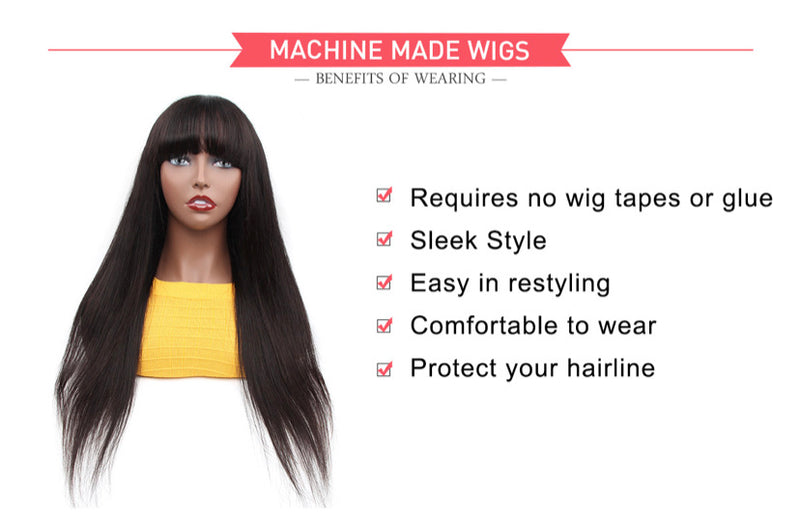 Machine Made Sew In Wig Human Hair Straight With Bangs Natural Colour 18""