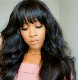 "Machine Made Sew In Wig with Bangs Human Hair Body Wave Wigs Natural colour ""18"""