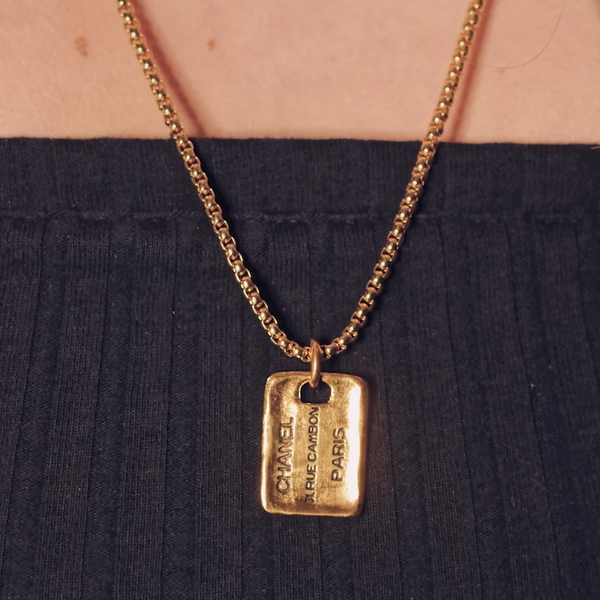 Chanel Gold Square Tag Pendant Charm