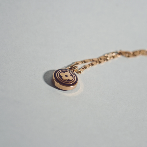 Louis Vuitton Small Dark Brown and Gold Round Clover Necklace